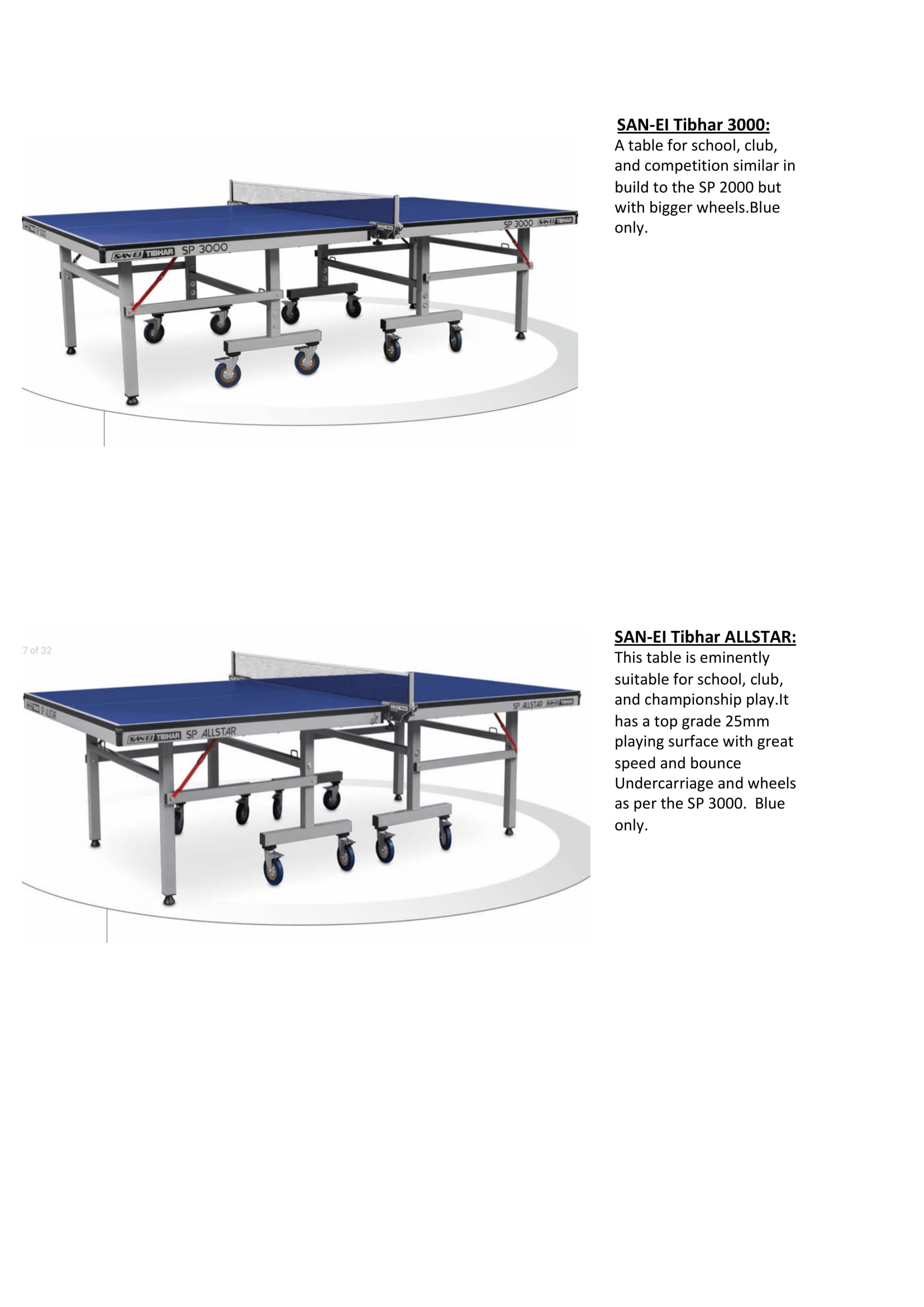 Tibhar Tables in Stock